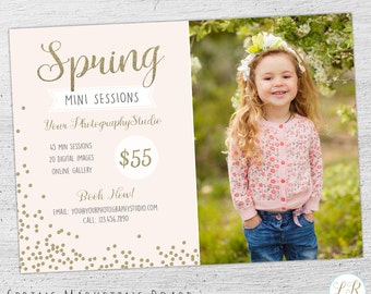 Spring Mini Session Template, Spring Marketing Board, Photoshop Template for Photographers, Photography Marketing Board, 06-008