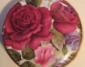 Red Roses Flowers Birchroft China signed vintage button