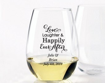 24pcs- Love Laughter and Happily Ever After - Stemless Wine Glasses 9oz - DGI22-A13