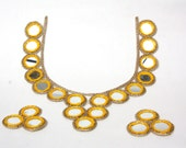 Yellow With Gold Neckline Applique,Mirror Work Applique, Neckline Yoke, , Kurti Neckline, Kutchi Work
