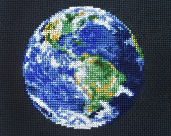Earth Cross Stitch Pattern PDF - Planet Solar System