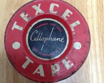 Texcel Cellophane Tape Tin Vintage Metal Tin