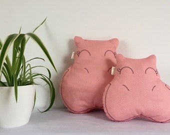Embroidered cushions, in the form of hippopotamus, large and small sizes