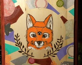 Handmade Woodburned Fox