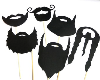 Photo Booth Props - Set of 5 Black Beards Photo Booth Props