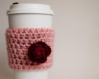 Handmade Crochet Pink Rose Cup Cozy