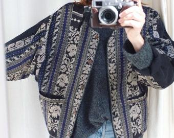 Antique vintage ikat hippie bomber jacket S/M