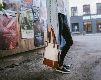 Leather canvas tote bag, casual tote bag, brown leather waterproof shoulder bag