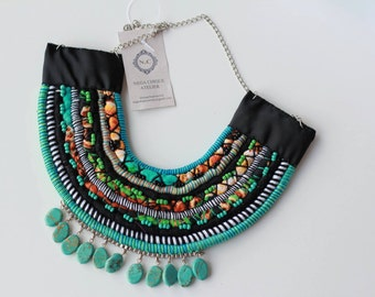 Fabric and cord blue necklace