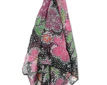 Colored Floral Chiffon Head Scarf* Church Head Scarf* Square Neck Scarf* Square Head Scarf* Chiffon Scarf* Size Small* READY TO SHIP**