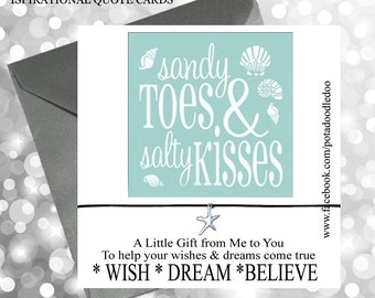 Handmade Wish Bracelet Sandy Toes Salty Kisses Star Fish Seaside Beach Wedding Favour Bridesmaid Birthday Christmas Gift Card Present