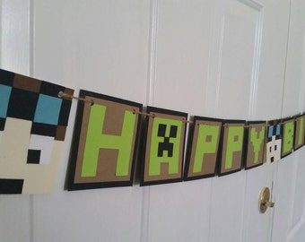 Handmade  Dantdm inspired Happy Birthday banner , name is optional