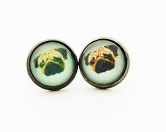 Handmade Dog  Pug Animal ear studs earrings Christms gift