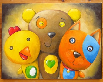 Three Friends, Original Art, Animals Mates, Kids Room Decoration, Hand Painted, 40x30 cm, Oil on canvas, MikiMayo