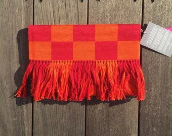 Checkered Clutch: Orange/Red