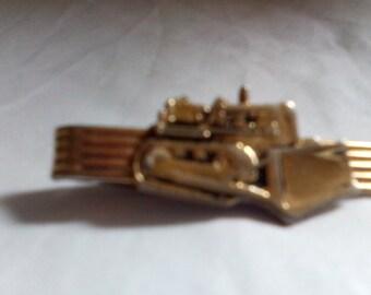 Vintage Nickok Excavator Tie Clip Gold Tone - gift for him