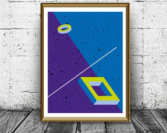 Abstract Blue and Purple Wall Art Print, Modern Poster, Printable Art, Wall Decor