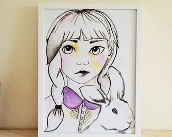 Framed Girl & Bunny Print