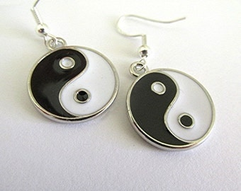Yin yang earrings drop earrings grunge earrings emo earrings black and white jewelry boho earrings hippie earrings new age earrings gift.