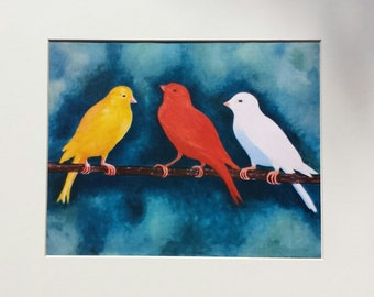 Canary Print Nursery Wall Art Animal Art Print Bird Fine Art yellow white orange blue office kitchen bedroom home decor – 3 Canaries Print