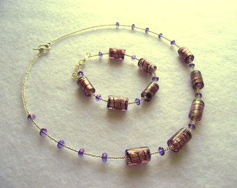 Purple and silver glass bead bracelet