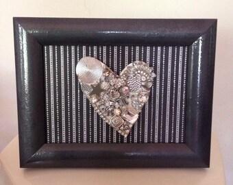 Mixed Media Silver Heart