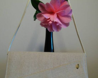 1980's cream linen handbag. Clutch or shoulder strap.