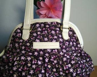 Purple / Cream floral corduroy bag by Benetton
