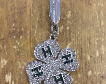4-H Pendant with Clear Crystals
