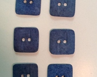 6 square vintage Italian buttons