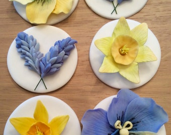 Edible Icing Spring Flowers Cupcake Toppers