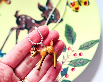 Bambi 3D necklace, deer necklace