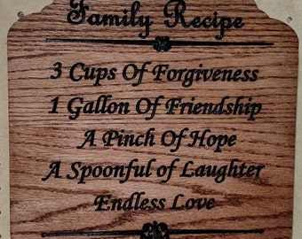 Family Recipe Sign
