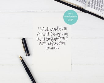 I have made you, I will carry you - Downloadable PDF - Christian Wall Print