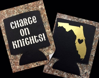 UCF Can Cooler, Knights, Charge on, University of Central Florida, Black and Gold, College Game Day