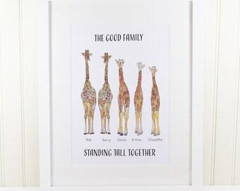 Personalised Giraffe Family Print