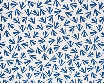 No. 12 Handprinted fabric panel blue on off-white fabric screen printed design