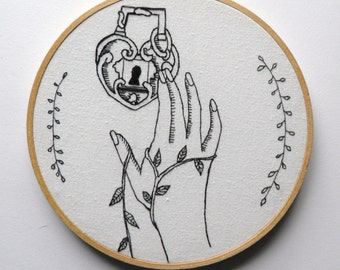 Lock and Key Embroidery Hoop Art,valentines day, Victorian hand Embroidered handblack-work, wall hanging, embroidery hoop, modern embroidery