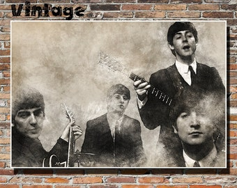 The Beatles 19x13 Print, Wall Art, Poster, Painting, Instagram, Rock, Pop, John Lennon, Paul McCartney, George Harrison, Ringo Starr
