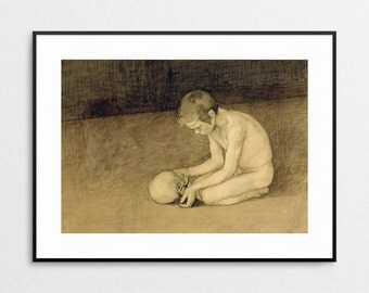 Boy with Skull - Fine Art Reproduction - Giclee -  Painting - Magnus Enchell - Art - Print - Wall Art - 19th Century - Gothic