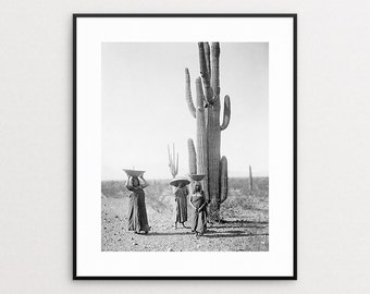 Black and White Cactus Print - Edward Curtis Print - Native American Art - Saguaro Cactus - Native American Photo - Southwest Decor
