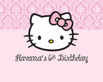 Hello Kitty Birthday Party Backdrop - Hello Kitty Party Background- Hello Kitty Party Decoration - Custom Hello Kitty Printable Backdrop