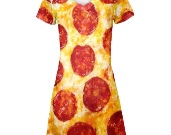 Pepperoni Pizza Costume All Over Juniors Beach Cover Up Dress