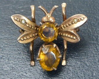 Antique Victorian 800 SILVER GILT Citrine & Seed Pearl BUTTERFLY Bug Bee Wasp Brooch / Pin