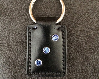 Hand-made leather keyring with Swarovski crystals