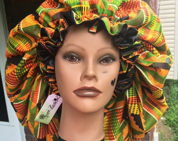 Satin Lined African Kente Bonnet (Please Specify Infant Age)
