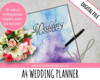 Printable Wedding Planner, DIY Wedding Organizer, ULTIMATE Wedding Planner, PDF, A4