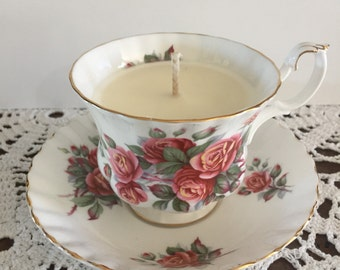 Soy wax candle made in Royal Albert fine bone china cup