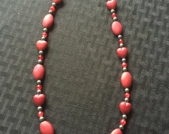 Red and Gray Heart Necklace