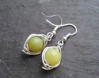 Olivine Peridot Drop Earrings